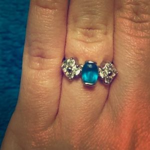 Blue and Silver Gemstone Ring